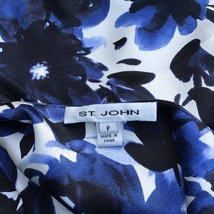 St. John Tops - ST JOHN blue floral stretch silk tank P XS S